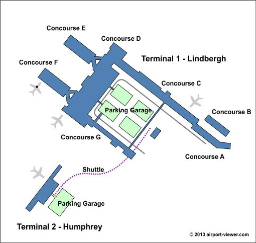 Minneapolis saint paul international airport location for Location parking